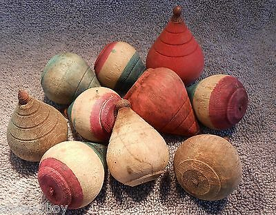 Lot 10 Antique Painted Wooden Spinning Tops C. 1910 Carnival Prizes Metal Tips
