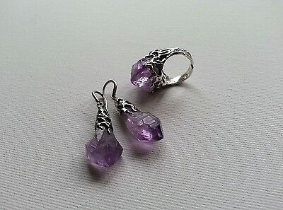 Magic Set Ring and Earrings with pieces of Amethyst Sterling silver 925,handmade