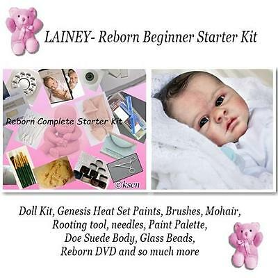 REBORN Doll Kit for beginners, Genesis paints, Mohair, BODY, DVD, Lainey, SALE