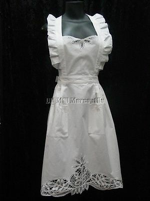Victorian Edwardian Downton Abbey style cotton apron with Battenburg lace NEW