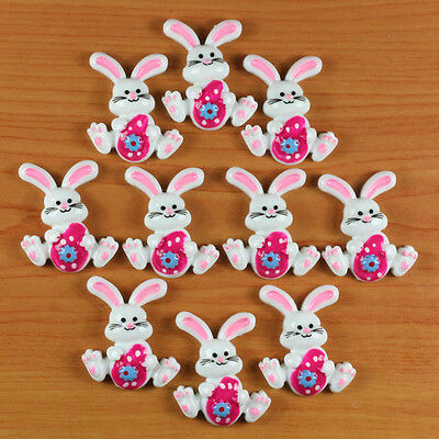 Lot 10pcs Rabbit Bunny with Hot Pink Easter Eggs Resin Flatbacks Hair Bow Crafts