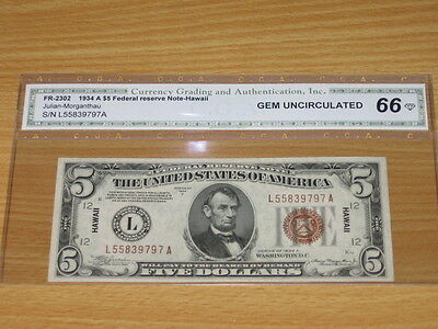 1934 A $5 Five Dollar Hawaii WWII Emergency Issue Note CGA 66 Gem Uncirculated