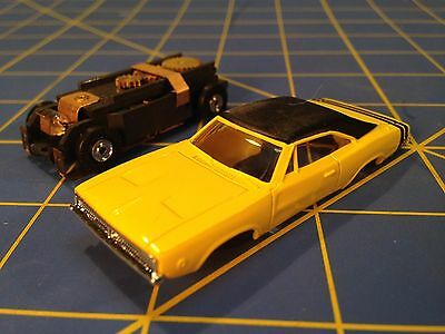 Yellow Dodge Charger  w/ 1969 Vintage T-Jet Chassis AUR 92 HO Aurora MidAmerica