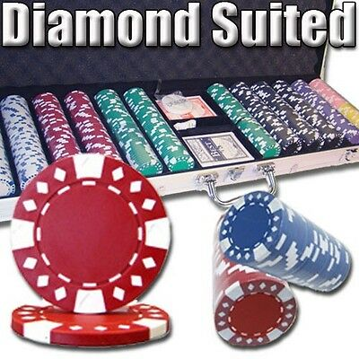 New 600 Diamond Suited 12.5g Clay Poker Chips Set w/ Aluminum Case - Pick Chips
