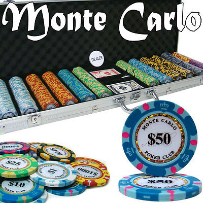 New 600 Monte Carlo 14g Clay Poker Chips Set with Aluminum Case - Pick Chips!