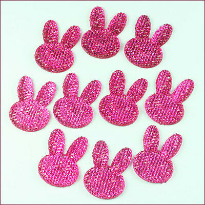 Lot 10pcs Easter Rabbit Bunny Head Hot Pink  Resin Flatbacks Hair Bow Crafts DIY