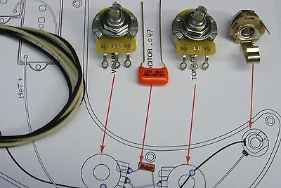 Upgrade Wiring Kit for Precision Bass CTS Split or Solid Shaft Pots O/drop etc.