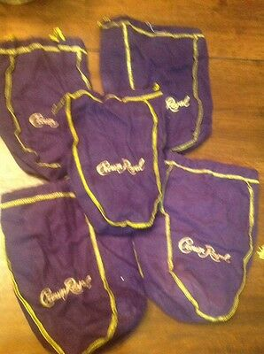 LOT OF 5 PURPLE CROWN ROYAL BAGS-750 Ml