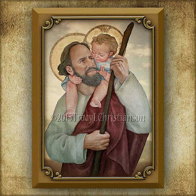 Saint Christopher Icon/Plaque & Holy Card LARGE GIFT SET Art