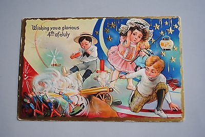 Antique Embossed  Wishing You A Glorious 4th Of July Postcard Girl Boys