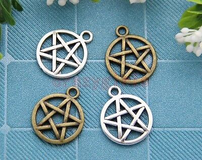 40/200pcs Antique Silver/Bronze Gothic wicca pentagram Charm Pendant 20x16mm
