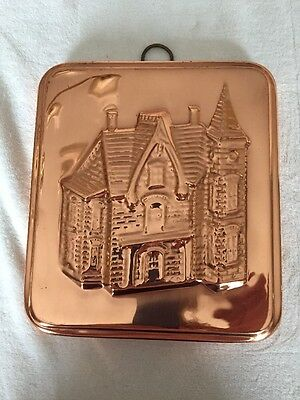 Copper Cake  Jello Mold, House Pattern, Decorative Wall Hanging