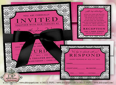 100 Black, White and Pink Damask Double-Layered Square Wedding Invitations