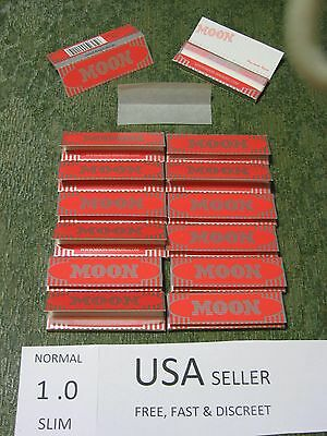 14 packs MOON RED SLIM 1.0 Cigarette Rolling Papers 50 leaves/pack 70X36mm USA