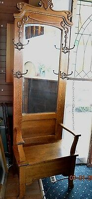 Beautiful Antique Oak Hall Seat with Beveled Mirror, Storage in seat, coat hooks