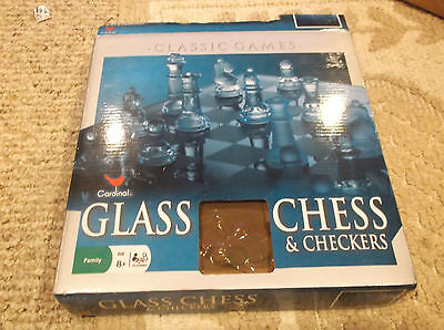 Cardinal Solid Clear & Frosted Glass Chess & Checkers, Smoked Glass Board Set