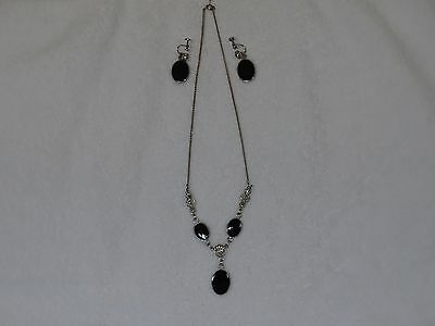 Van Dell Sterling Silver Black Onyx Necklace and Earring Set