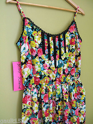 NWT Betsey Johnson Sexy Little Black Lace Rose Pink Yellow Summer Dress 10 $128