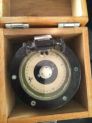 Nautical Handheld Compass In Wooden Case - Battery Lighted