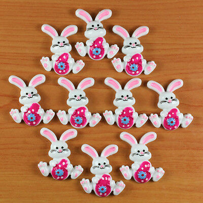 10 pcs Rabbit Bunny with Hot Pink Easter Eggs Resin Flatbacks Hair Bow Crafts #1
