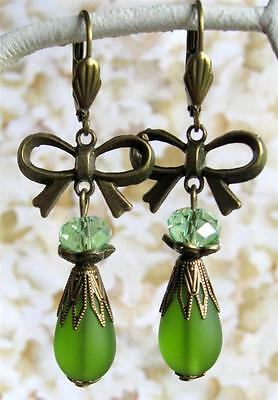 Vintage Art Deco Dangle Earrings Olivine Olive Green Pear Frosted Sea Glass Bow