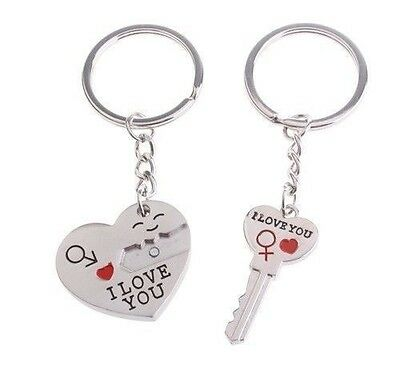 2pcs Couples Lovers Metal Key Chain Ring Key To My Heart I LOVE YOU Silver Tone
