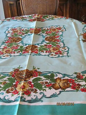 """Vintage 50's, 60S MID CENTURY TEAL FLORAL  TABLECLOTH 50"""" X 52"""""""