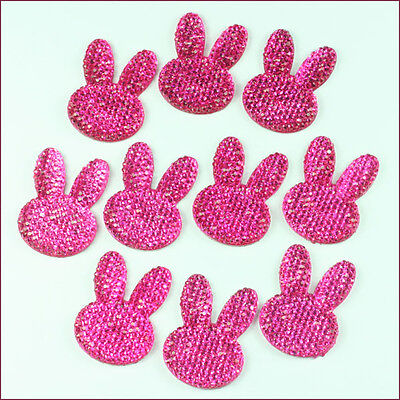 Lot 10pcs Easter Rabbit Bunny Head Hot Pink  Resin Flatbacks Hair Bow Crafts #1