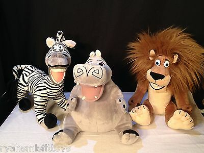 HTF Russ Plush MADAGASCAR Lot LARGE Alex Marty & Gloria 2005 Dreamworks Stuffed