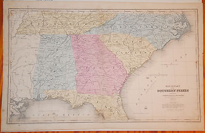 2 US Maps: Olney's School Geography (1844) Southern States and Central States