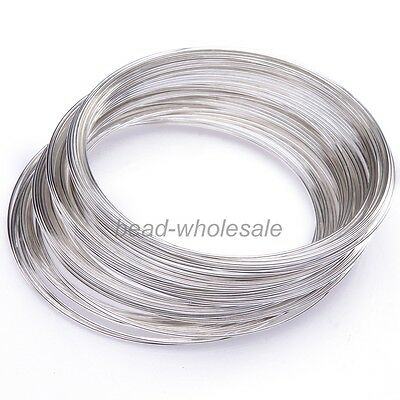 100 Loops Silver Memory Steel Wire For Cuff Bangle, 0.6x55mm