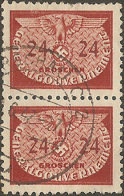 OCCUPIED POLAND 1940: 24 Gr official, vertical pair, used