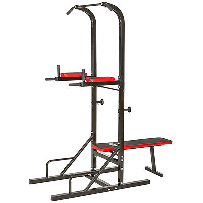 Sit up pull push up bar dip power tower station ultimate ab builder home gym