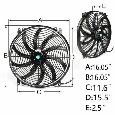 16'' 16 INCH 12V PUSH / PULL Electirc Thermo Curved Blade FAN + MOUNTING kit
