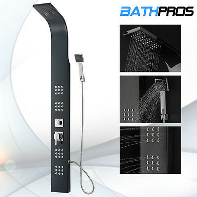 Luxurious Black Stainless Steel Shower Panel Rainfall Massage Jets Bath Tower 85