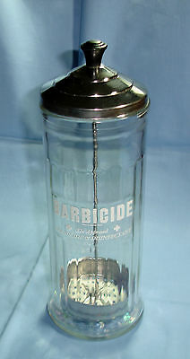 VINTAGE BARBICIDE JAR KING RESEARCH BARBER BEAUTY SHOP GERMICIDE LID WITH TRAY