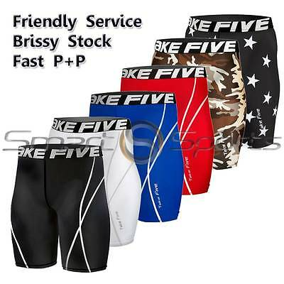 Mens Compression Shorts Knee Length Pants Leggings AFL Rugby Skins Take 5 Base