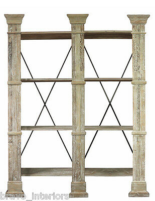 Bookcase Book Shelves 8' Tall Wide ELM Iron Pilaster Columns New Shipping Free