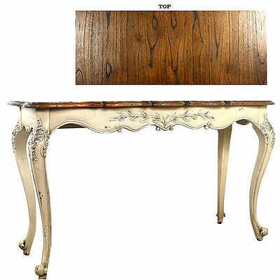 French Table Console Sofa Size Distress Mahogany White Hand Carved New
