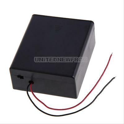 Black Battery Storage Case Box Wires Holder For 2x D-type Batteries with on-off