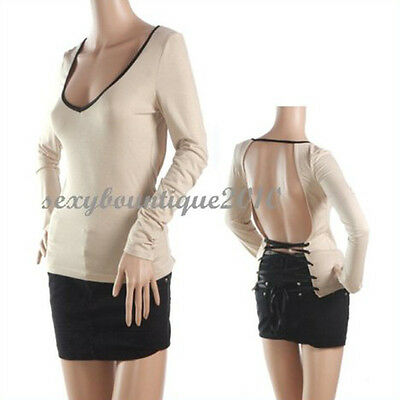 New Sexy Women's V-neck Close-fiting Backless T-shirt Top Casual Fashion Stylish