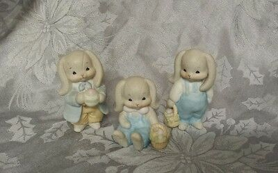 Lucy Rigg Lucy and Me 1984 Vintage Easter Bunny Rabbit boy set 3  Enesco CUTE!