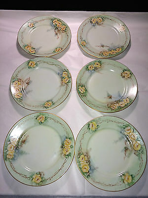 Lot of 6 Hutschenreuther LHS Selb Bavaria Hand Painted Floral Plate Gold Trim