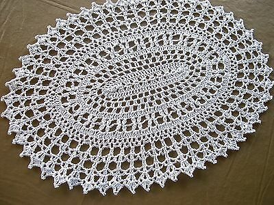 Thread Crocheted Doily Tablecloth Centerpiece Oval Lace White sparkle 16 X 11 in