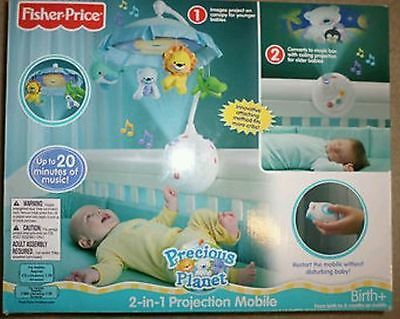 Fisher Price Mobile Precious Planet Projection Baby Crib 2 in 1 Wall Ceiling NEW