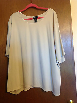 "5X 34/36W Maggie Barnes Blouse Top Cream Natural 70"" bust Stretch Ribbed"