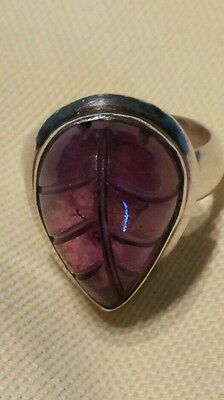 Signed NM  Sterling Silver and Carved Amethyst ? Ring Size 5
