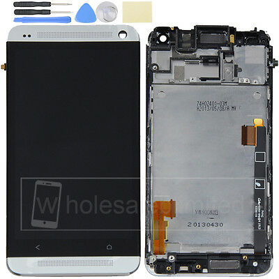 Silver White For  HTC One M7 LCD Display Touch Screen Digitizer Assembly&Frame