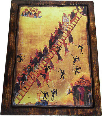 The ladder of divine ascent - Orthodox Byzantine icon on wood handmade