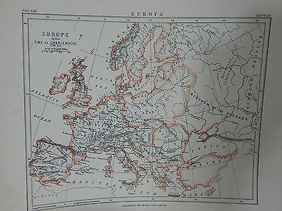 1889 Encyclopedia Britanica 9th Ed. Map of Europe During Time of Charlemagne
